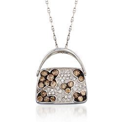 "C. 2000 Vintage .83 ct. t.w. Brown and White Diamond Purse Pendant Necklace in 14kt and 18kt White Gold. 18"", , default"