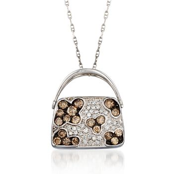 """C. 2000 Vintage .83 ct. t.w. Brown and White Diamond Purse Pendant Necklace in 14kt and 18kt White Gold. 18"""", , default"""