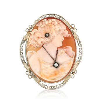 C. 1950 Vintage Pink Shell Cameo Pin Pendant with .10 ct. t.w. Diamonds in 14kt White Gold