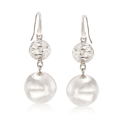 Italian Sterling Silver Double Bead Drop Earrings , , default