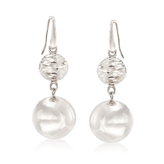 Italian Sterling Silver Double Bead Drop Earrings