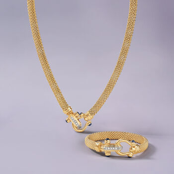 """Italian 14kt Yellow Gold Popcorn Chain Necklace with Sapphire and Diamond Clasp. 20"""", , default"""
