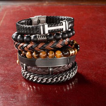 Men's Black and Brown Leather Bracelet with Stainless Steel. 8.5""