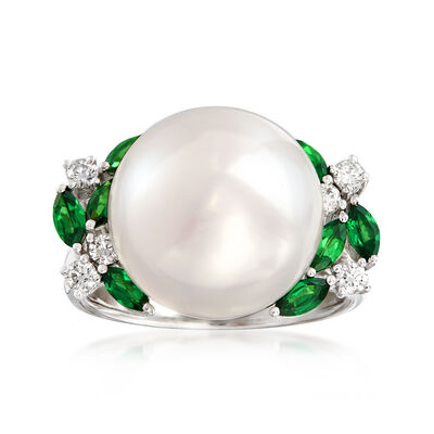 13-13.5mm Cultured Pearl, .70 ct. t.w. Tsavorite and .23 ct. t.w. Diamond Ring in 14kt White Gold