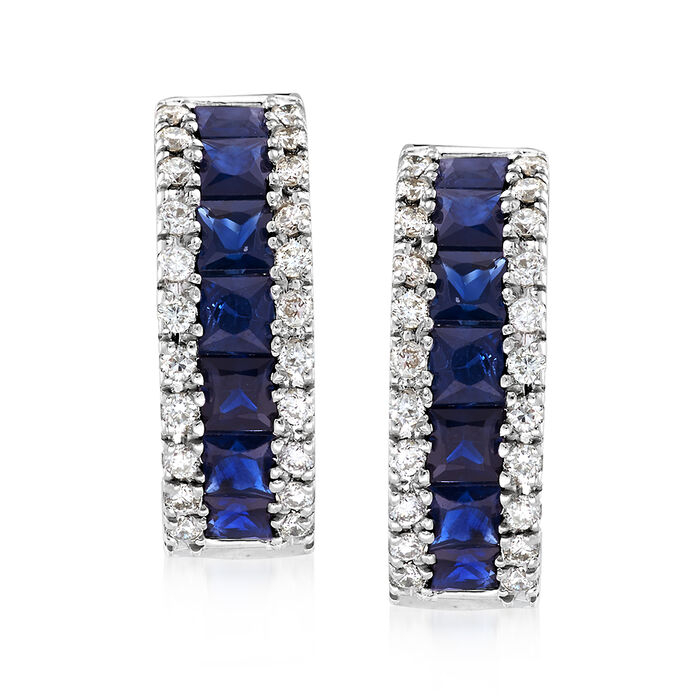 1.50 ct. t.w. Sapphire and .30 ct. t.w. Diamond Huggie Hoop Earrings in 14kt White Gold. 1/2""