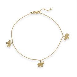 14kt Yellow Gold Elephant Trio Dangle Anklet, , default