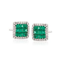 Gregg Ruth .46 ct. t.w. Emerald and .13 ct. t.w. Diamond Earrings in 18kt White Gold, , default