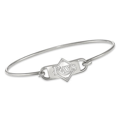 """Sterling Silver MLB Tampa Bay Rays Small Center Wire Bangle Bracelet. 7"""", , default"""