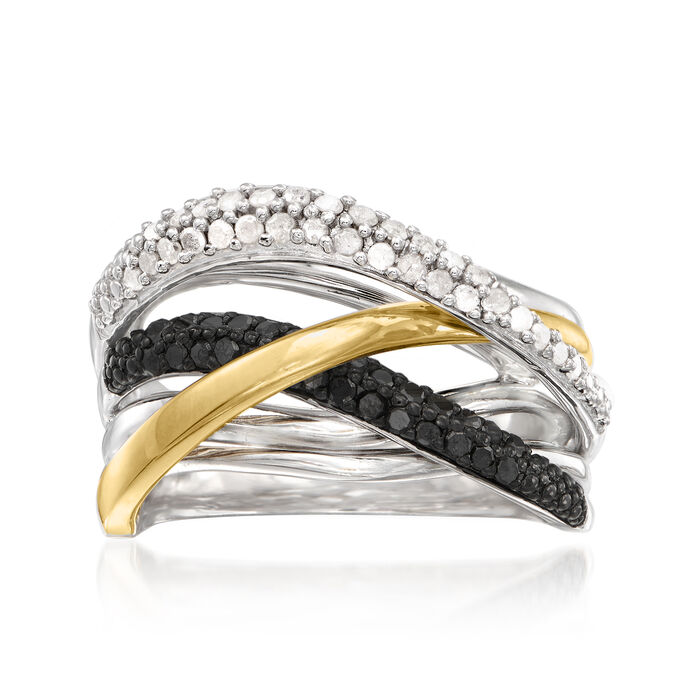 .50 ct. t.w. Black and White Diamond Highway Ring in Sterling Silver and 14kt Yellow Gold