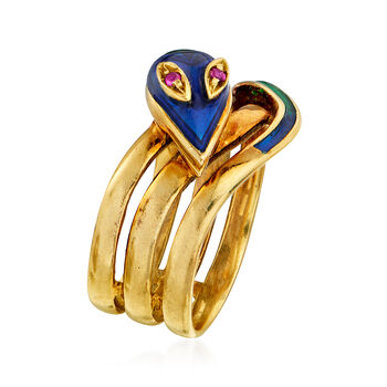 C. 1980 Vintage Ruby-Accented Enamel Snake Ring in 18kt Yellow Gold. Size 6, , default