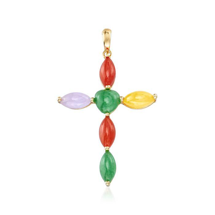 Multicolored Jade Cross Pendant in 14kt Yellow Gold
