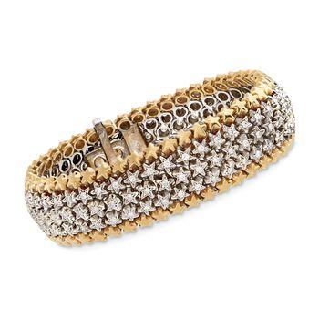 "C. 1980 Vintage 3.00 ct. t.w. Diamond Star Bracelet in 18kt Two-Tone Gold. 7.5"", , default"