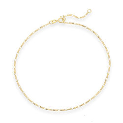 14kt Yellow Gold Figaro Chain Anklet, , default