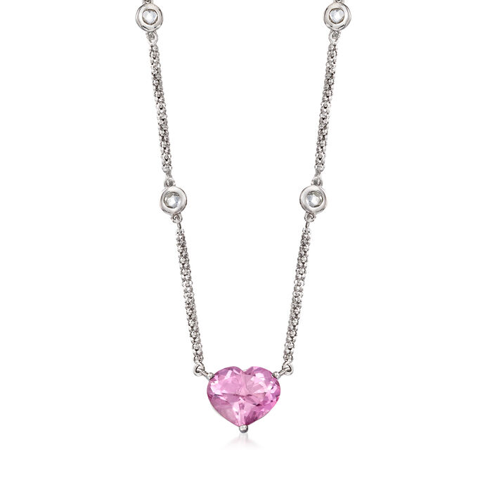 3.90 Carat Pink Quartz and .50 ct. t.w. White Topaz Heart Necklace in Sterling Silver