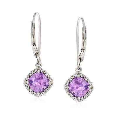 Diamond-Accented 1.70 ct. t.w. Amethyst Drop Earrings in Sterling Silver