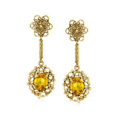 C. 1970 Vintage 6.80 ct. t.w. Yellow Synthetic Sapphire Drop Earrings in 14kt Yellow Gold