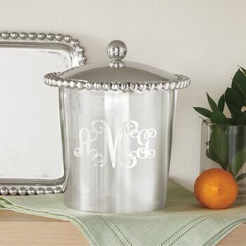 "Monogram Mariposa ""String of Pearls"" Personalized Ice Bucket, , default"
