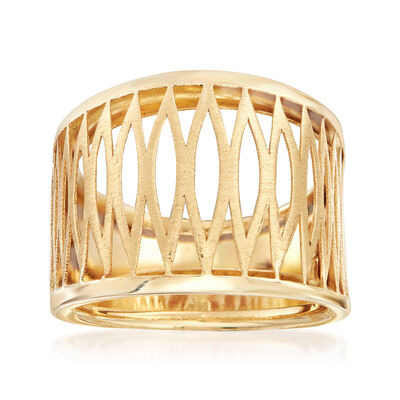 Italian 14kt Yellow Gold Open-Space Zig-Zag Ring, , default