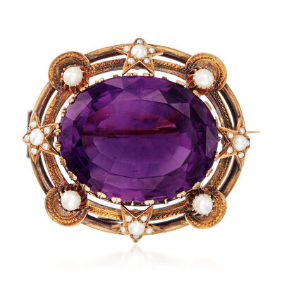 C. 1910 Vintage 50.00 Carat Amethyst and 1.4-3mm Cultured Pearl Pin in 18kt Yellow Gold, , default