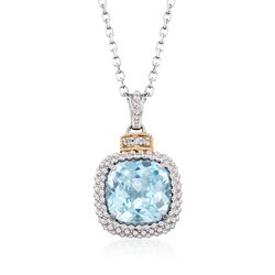 "Phillip Gavriel ""Popcorn"" 4.50 Carat Blue Topaz Pendant Necklace With Diamond Accents. 18"", , default"