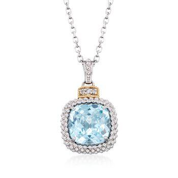 """Phillip Gavriel """"Popcorn"""" 4.50 Carat Blue Topaz Pendant Necklace With Diamond Accents. 18"""", , default"""