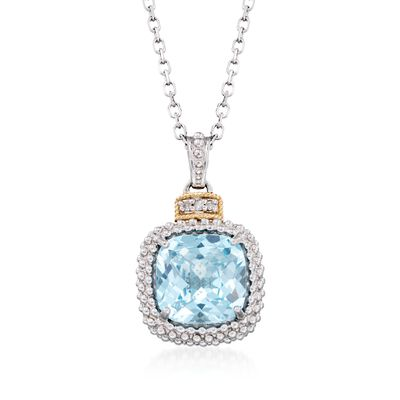 "Phillip Gavriel ""Popcorn"" 4.50 Carat Blue Topaz Pendant Necklace with Diamond Accents, , default"