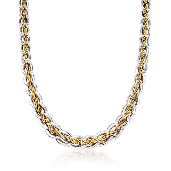 C. 1990 Vintage 14kt Two-Tone Gold Link with Beaded Center Necklace