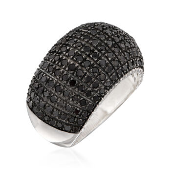 2.00 ct. t.w. Black Diamond Multi-Row Dome Ring in Sterling Silver, , default