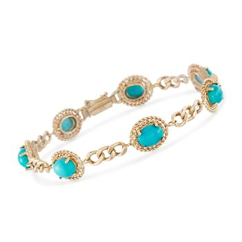 Turquoise Link Bracelet in 14kt Yellow Gold, , default
