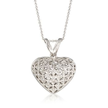 """C. 2000 Vintage .35 ct. t.w. Diamond Geometric Heart Necklace in 14kt and 18kt White Gold. 16"""", , default"""