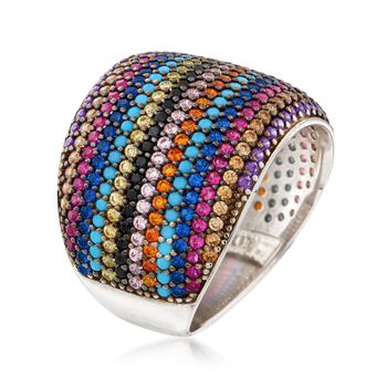 Multicolored CZ Ring in Sterling Silver, , default