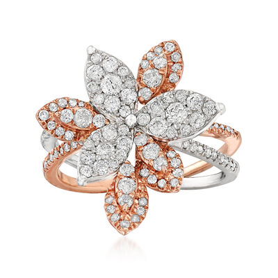 .90 ct. t.w. Diamond Leaf Ring in 14kt Two-Tone Gold, , default