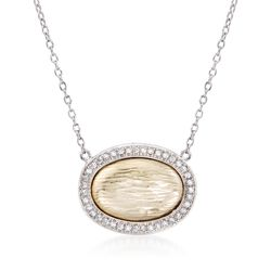 .20 ct. t.w. CZ Textured Oval Necklace in Two-Tone Sterling Silver, , default