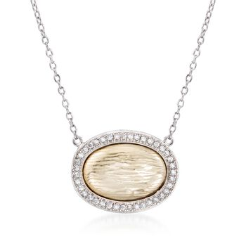 ".20 ct. t.w. CZ Textured Oval Necklace in Two-Tone Sterling Silver. 16"", , default"