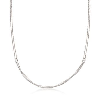 """Italian Sterling Silver Twisted Double Chain Necklace. 18"""", , default"""