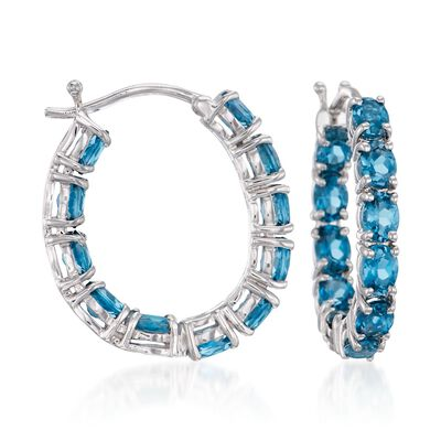 4.30 ct. t.w. London Blue Topaz Inside-Outside Hoop Earrings in Sterling Silver