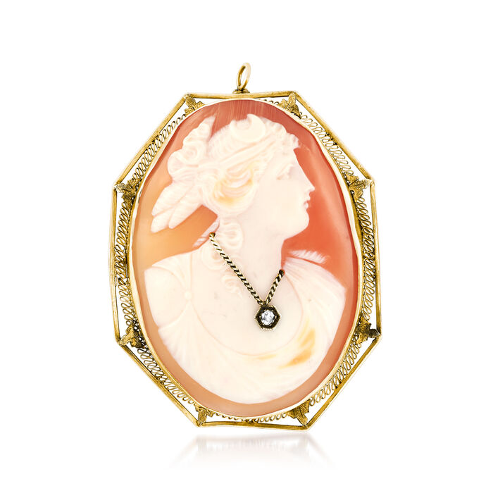 C. 1950 Vintage Pink Shell Cameo Pin Pendant with Diamond Accent in 14kt Yellow Gold