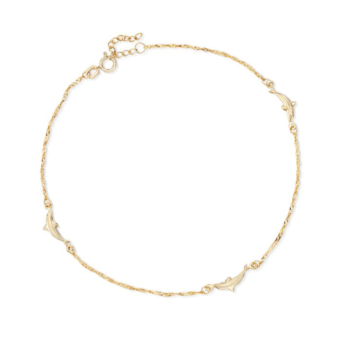 "14kt Yellow Gold Dolphin Anklet. 10"", , default"