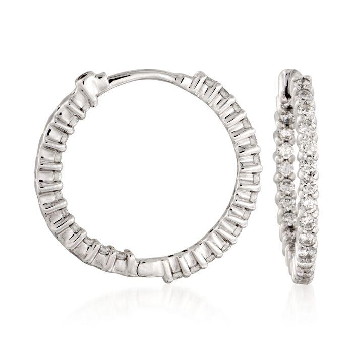 "Roberto Coin 1.00 ct. t.w. Diamond Inside-Outside Hoop Earrings in 18kt White Gold. 3/4"", , default"