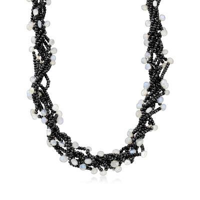 Moonstone and Black Spinel Bead Torsade Necklace with 18kt Gold Over Sterling, , default