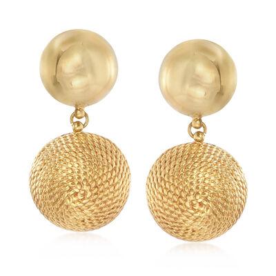 Italian 14kt Yellow Gold Double Circle Drop Clip-On Earrings