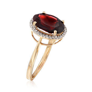 5.25 Carat Oval Garnet and .10 ct. t.w. Diamond Ring in 14kt Yellow Gold