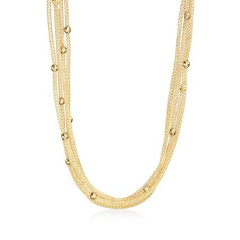 Italian 18kt Gold Over Sterling Silver Five-Strand Beaded Mesh Necklace, , default