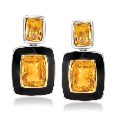 5.90 ct. t.w. Citrine and Black Enamel Drop Earrings in Sterling Silver with 14kt Yellow Gold