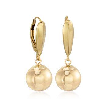 8mm 14kt Yellow Gold Ball Drop Earrings, , default