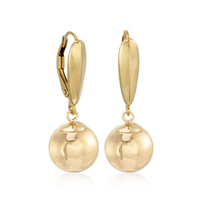8mm 14kt Yellow Gold Ball Drop Earrings, , default