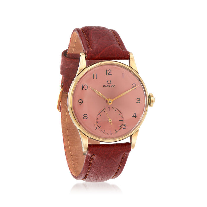 C. 1950 Vintage Omega Women's 18mm Watch with Leather Strap in 14kt Yellow Gold. Size 9, , default