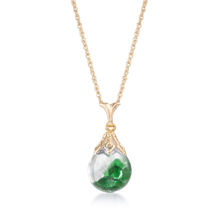 .80 ct. t.w. Floating Emerald Pendant Necklace in 14kt Yellow Gold