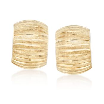 """Italian 18kt Yellow Gold Diamond-Cut and Satin-Finished Hoop Earrings. 1/2"""", , default"""