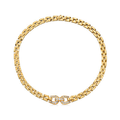 C. 1980 Vintage Cartier 2.15 ct. t.w. Diamond Panther-Link Necklace in 18kt Yellow Gold, , default